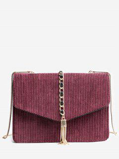 Tassel Chain Suede Crossbody Bag - Red