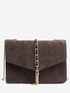 Tassel Chain Suede Crossbody Bag - Coffee