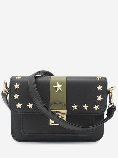 Rivets Stars Striped Crossbody Bag - Black Horizontal