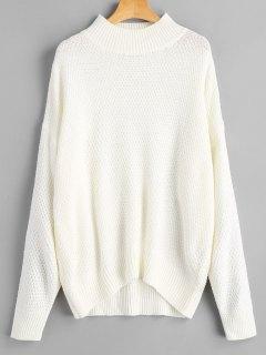 Strukturierter Übergröße Pullover Mit Mock Neck - Weiß