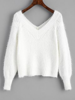 Fuzzy Cropped V Neck Sweater - White