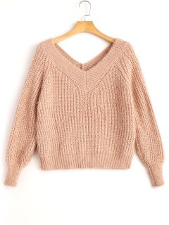 Fuzzy Cropped V Neck Sweater - Nude Pink