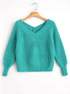 Fuzzy Cropped V Neck Sweater - Blue Green