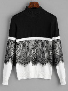 Pullover Lace Panel Mock Neck Sweater - Black