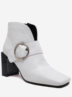 Buckle Strap Curve Block Heel Boots - White 40