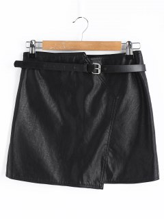 Belt Mini Faux Leather Skirt - Black L