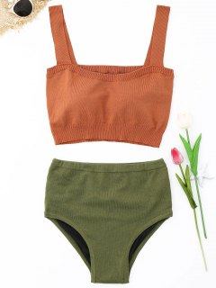 Gestrickte Hoch Taillierte Bikini Set - Orange