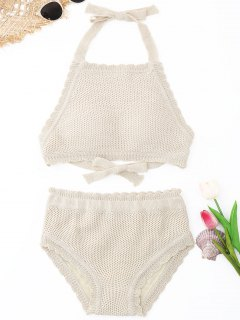 Scalloped High Neck Crochet Bikini Set - Beige