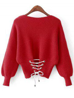 Lantern Sleeve Back Lace Up Sweater - Red