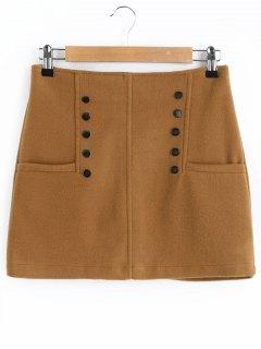 Studded A Line Wool Blend Skirt - Brown L
