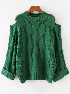 Cold Shoulder Sweater - Green
