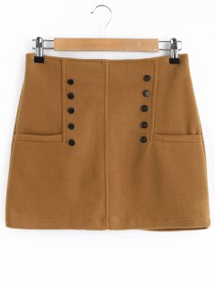 Studded A Line Wool Blend Skirt - Brown M