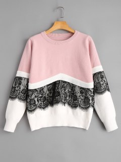 Pullover Lace Panel Two Tone Sweater - Pink