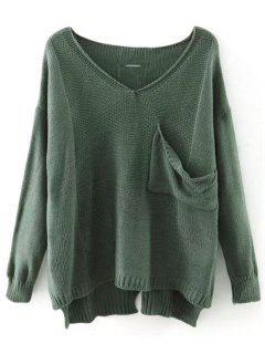 Cutout Hoher Niedriger Pullover Mit V Ausschnitt  - Erbsengrün