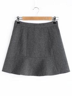 A Line Wool Blend Mini Skirt - Gray M