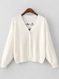 Flower Patched Button Up Cardigan - White