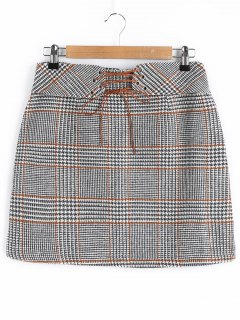 Lace-up Houndstooth Skirt - Checked M