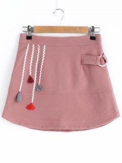 Wool Blend Tassel A Line Skirt - Deep Pink Xl