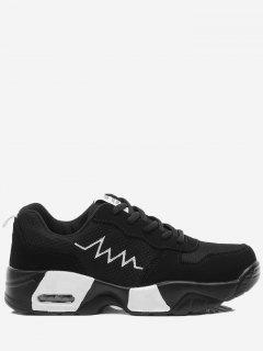 Breathable Color Block Line Sneakers - Black White 36