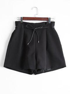 Pantalones Cortos De Pierna Ancha Con Bolsillo Trasero De Imitación - Negro S