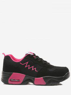 Breathable Color Block Line Sneakers - Black Red 36