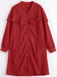 Frilled Plus Size Windbreaker Coat - Red Xl