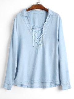 Plugning Neck Lace Up Shirt - Light Blue S