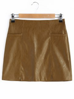 A Line Faux Leather Skirt - Brown 2xl