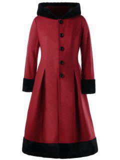 Manteau Robe à Capuche En Fausse Fourrure Grande Taille - Rouge 4xl