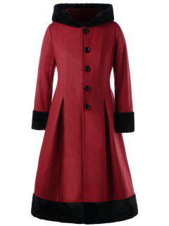 Plus Size Faux Fur Hooded Dress Coat - Red 5xl