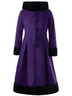 Plus Size Faux Fur Hooded Dress Coat - Purple 5xl