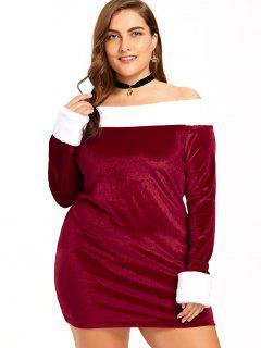 Christmas Plus Size Off The Shoulder Velvet Dress - Red And White 3xl