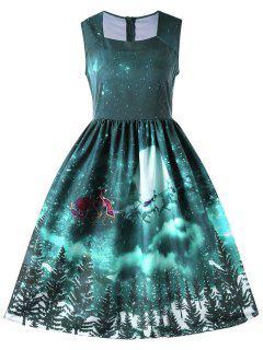 Weihnachten Ärmelloses Quandratischer Ausschnitt 50 Jahre Swing Kleid - Grün M