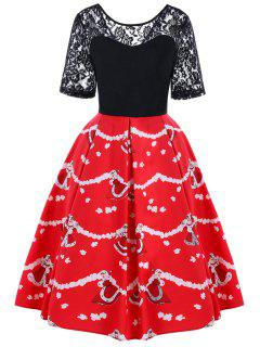 Christmas Lace Yoke 50s Swing Dress - Black And Red 2xl