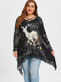 Plus Size Reindeer Galaxy Lace Hem Top - Black 5xl