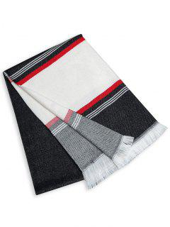 Striped Pattern Color Block Fringed Long Scarf - Black White