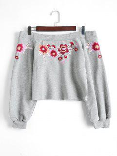 Off Shoulder Floral Embroidered Crop Sweatshirt - Gray L