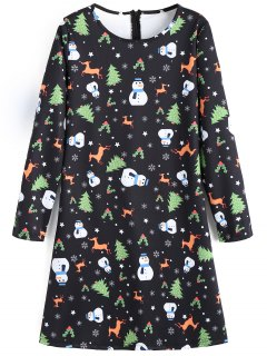 Snowman Deer Graphic Christmas Flare Dress - Black S