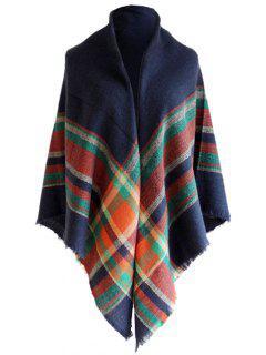Vintage Tartan Pattern Faux Wool Shawl Scarf - Cadetblue