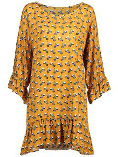 Floral Ruffle Trim Long Sleeve Dress - Ginger 2xl