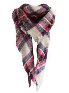 Checked Pattern Faux Wool Fringed Shawl Scarf - Rose Madder