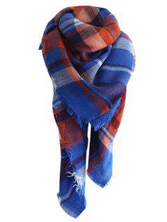 Checked Pattern Faux Wool Oversized Shawl Scarf - Blue