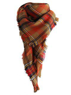 Plaid Pattern Artifical Wool Fringed Shawl Scarf - Brown