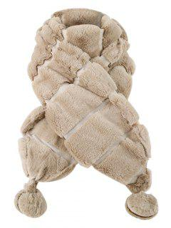 Fuzzy Ball Decorated Suede Long Scarf - Light Coffee