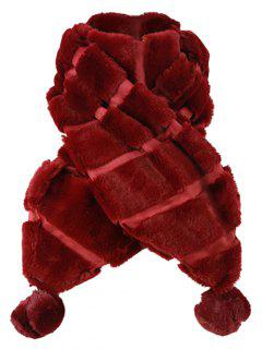 Fuzzy Ball Decorated Suede Long Scarf - Dark Red