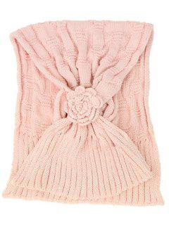 Floral Pattern Embellished Crochet Knitted Scarf - Pink