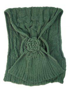 Floral Pattern Embellished Crochet Knitted Scarf - Army Green