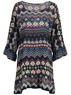 Ruffled Printed Long Sleeve Tunic Dress - M