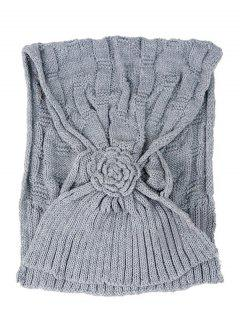 Floral Pattern Embellished Crochet Knitted Scarf - Smoky Gray