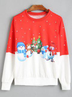 Snowman Christmas Tree Polka Dot Sweatshirt - Red And White S